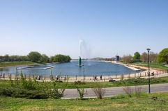 Landscape of Ada Ciganlia lake in Belgrade Royalty Free Stock Photos