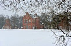 Landscape with  the Admiralty pavillion in Pushkin garden. Stock Photos