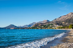 The landscape of the Adriatic coast of Bar, Montenegro. The sea, Stock Image