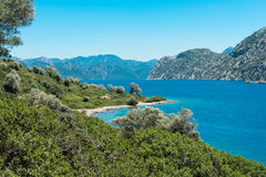 Landscape of the Aegean coast stock images