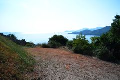 Landscape from Aegean Sea. Stagira. Beautiful landscape of bay at the aegean sea from Stagira, an ancient Greek city, located in central Macedonia, near the stock images