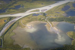 Landscape aerial photo from Skierfe top Sarek national park Swed Royalty Free Stock Photography