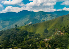 Landscape Aerial View of Medellin Colombia. Beautiful aerial view of mountains from and cloudy sky at sunny day in the highs of Medellin, one of the most stock photography