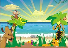 Landscape-African animals and palm trees on the ocean Stock Photography