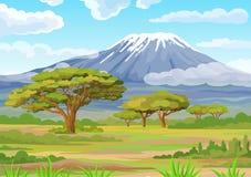 Landscape of the African savanna. Vector illustration. Animation decorative landscape - the African savanna, Mount Kilimanjaro. Green daolina, trees, bushes stock illustration