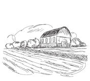 Landscape with agrarian fields and village house. Stock Images