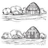 Landscape with agrarian fields and village house. Stock Image