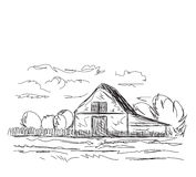 Landscape with agrarian fields and village house. Royalty Free Stock Image