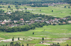 Landscape of Agricultural area and village Stock Image