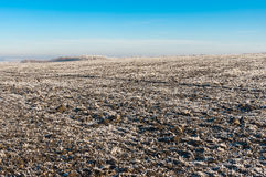 Landscape with agricultural fields covered with hoar-frost. At autumnal season Stock Photo