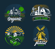 Landscape agriculture emblem Royalty Free Stock Photo