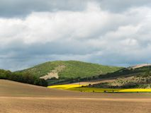 Landscape with Agriculture Fields and Green Areas on a Sunny Day with Cloudy Sky royalty free stock image