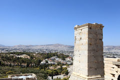 Landscape of Agrippa tower of the Acropolis Propylaea Stock Image
