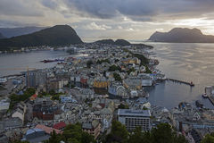 Landscape of Alesund city from the lookout on Mount Axl Stock Image