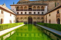 Landscape in Alhambra, courtyard with green water Royalty Free Stock Photo