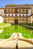 Landscape in Alhambra, courtyard with green water Stock Photos