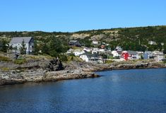 Brigus village, Conception Bay coastline NL Canada. Landscape along the the Baccalieu Trail; the fishing village of Brigus, Conception Bay coastline near Brigus stock image