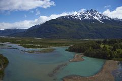 Landscape along the Carretera Austral, Chile. Landscape along the Carretera Austral above Rio Ibáñez in Patagonia, Chile royalty free stock photo