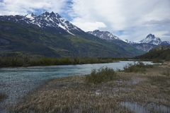 Landscape along the Carretera Austral in northern Patagonia, Chile. Landscape along the Carretera Austral above Rio Ibáñez in Patagonia, Chile stock photography