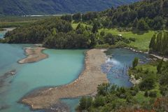 Landscape along the Carretera Austral, Chile. Landscape along the Carretera Austral above Rio Ibáñez in Patagonia, Chile stock photo