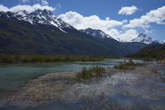 Landscape along the Carretera Austral, Chile. Landscape along the Carretera Austral above Rio Ibáñez in Patagonia, Chile stock photography