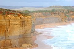 Landscape with cliffs in the mist, Great Ocean Road, Victoria, Australia Royalty Free Stock Images