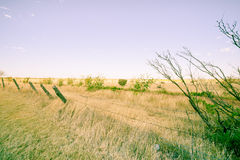 Landscape along I 40, Route 66, just out of Adrian,  Texas, USA. Stock Photos