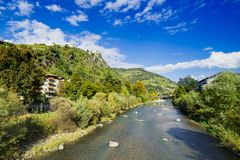Landscape along river Isarco Eisack in Chiusa, Italy stock images