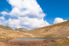 Landscape of an alpine lake. With cloudy sky royalty free stock photography