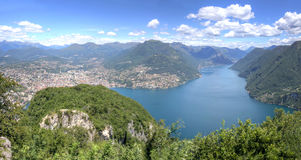Landscape of Alpine mountains at Lake Lugano Stock Photography