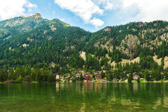 Landscape of alpine resort Champex-Lac royalty free stock images