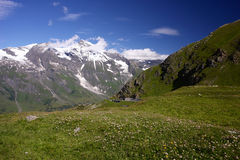 Landscape in the Alps, Austria. Alps mountains with blue sky and green meadow Stock Photos