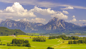 Landscape with alps mountains in Bavaria Stock Photos