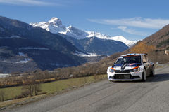 Landscape of Alps and racing car Stock Images