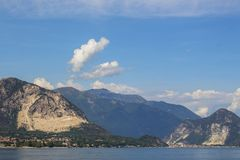 Landscape of the Alps and Scenic sky from Lake Maggiore, Italy. stock image