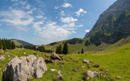 Landscape of the Alpstein and the Saentis which are a subgroup of the Appenzell Alps in Switzerland. During summer royalty free stock image