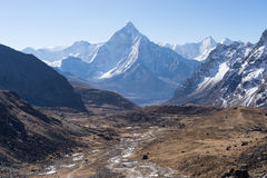 Landscape of Ama Dablam mountain peak, Everest region, Nepal Royalty Free Stock Images