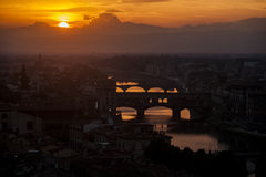 Landscape. Amazing colors at sunset in Florence Stock Photo