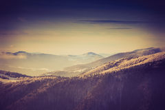 Landscape of amazing evening winter in mountains. Retro filter and instagram toning effect Stock Images