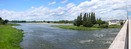 Landscape of  Ambuase on a river  Loire, France Stock Photos