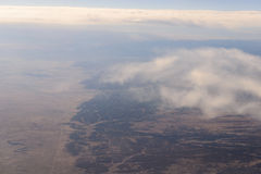 Landscape america from window airplane Stock Photo