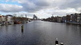 Landscape of Amsterdam from the river stock footage
