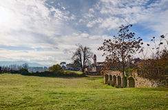 Landscape with ancient city walls Royalty Free Stock Images