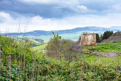 Landscape with ancient greek ruins in Morgantina Stock Images