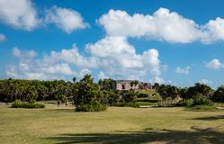 Landscape at ancient Mayan ruins of Tulum in Mexico royalty free stock photography