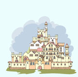 Landscape with ancient medieval castle.Hand drawn sketchy fortr Stock Photos