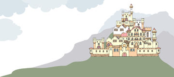 Landscape with ancient medieval castle on the hill. Hand drawn s Stock Images