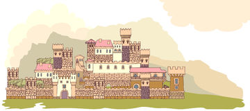 Landscape with ancient medieval castle on the hill. Hand drawn s Stock Photography