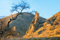 Landscape of ancient tower complex of Vovnushki and Caucasus mou Royalty Free Stock Images