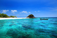Landscape of Andaman Sea with sea coast and blue sky in Lipe Island Stock Photo